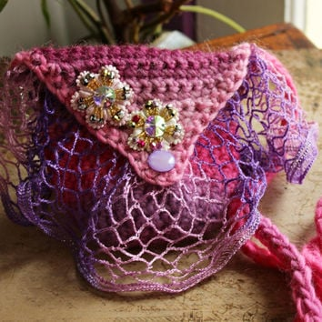 Pink fairy Amulet Bag - Medicine bag - Hand Crochet boho cross body pouch with flowers and fairy charm - Crystal Keeper Faerie treasures