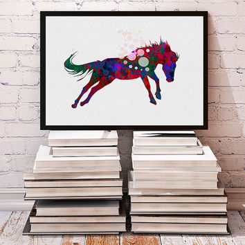Horse Watercolor Wall Art Fine Art Poster, Animals Print Gift For Boys and Girls for friends Wild Animals Giclee Print Wall Art Home