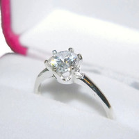 1 Carat Promise Ring, Sterling Silver Engagement Ring, Simple Ring