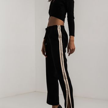 AKIRA High Rise Drawstring Striped Split Hem Track Pants in Black