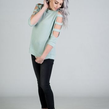 Waffle Knit Top with Ladder Cut Sleeves in Sage