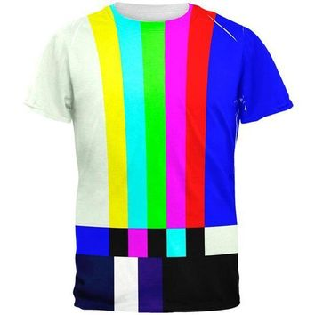PEAPGQ9 Halloween SMPTE Color Bars Late Night TV Costume All Over Mens T Shirt