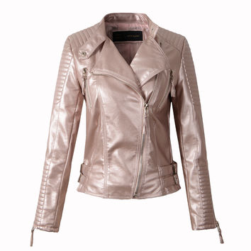 Women faux leather jacket long sleeve PU coat red big size S-XL motorcycle biker jaquetas casacos de couro feminine