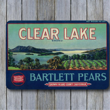 Bartlett Pear Fruit Crate Label Sublimation Printed Sign/Personalized Sign/Kitchen Decor/Family Sign