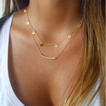 Gold Coin Sequins Double Chain Necklace