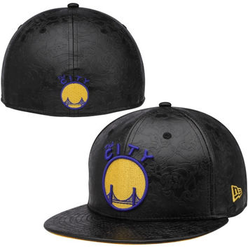 Golden State Warriors New Era Hardwood Classics Leather Floral Fitted Hat – Black