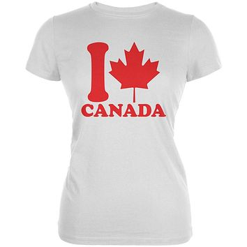I Love Maple Leaf Heart Canada Juniors Soft T Shirt