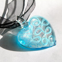 Turquoise Glass Heart Pendant Necklace With Multi Strand