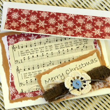 Rustic Christmas Greeting Card Country Shabby Snowflakes Red Burlap Lace Hymn Handmade
