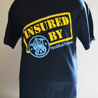 Vintage T Shirt Large Shirt Pro Firearms Ownership Pro Guns Insured by Smith and Wesson