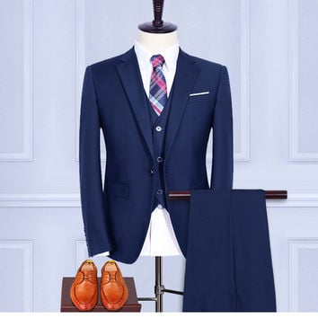 (Jacket+Pants+Vest+shirt+tie) Wool Blue Retro gentleman style Men's suits tailor suit Blazer men formal prom wedding party
