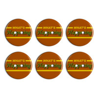 What's Happening Casual Hello Greeting Plastic Resin Button Set of 6