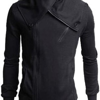 Deep Gray Buttoned Collar Zipper Design Long Sleeve Sweatshirt