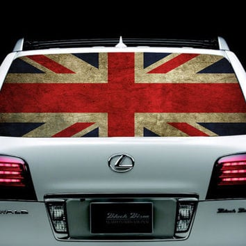 Perfik58 Full Color Print Perforated Film Truck SUV Back Window Sticker flag britain
