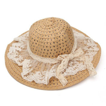 Lace Bowknot Straw Sun Hat Wide Brim Summer Sunshade Beach Cap