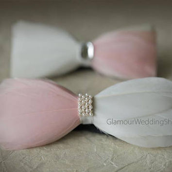 Feather Bow Tie Wedding Bow Tie Groom Bow Tie White and Blush Pink Bow Man's Tie