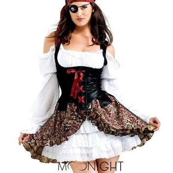 MOONIGHT Pirate Costume Reatil Deluxe Pirate Halloween Costumes For Women