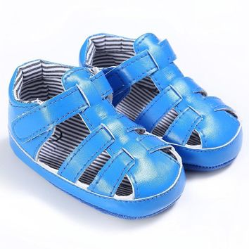 Fashion Online 2017 New Summer Pu Baby Boys Stripe Breathable Hollow Out Anti-slip Flip Flop New Born Cack Sandal Shoes
