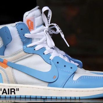 BC QIYIF Nike Off-White Virgil Abloh Air Jordan Retro 1 High Part 2 White University Blue 2018 AQ0818-148 Adult and GS