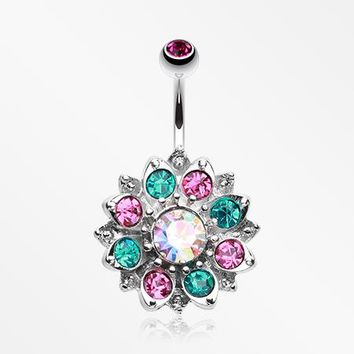 Gleaming Lotus Sparkle Flower Belly Button Ring