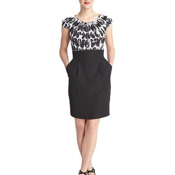 Tahari Arthur S. Levine Printed Bodice Sheath Dress