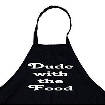 Dude with The Food Personalized Chef's Funny Cooking Apron for Men (Black) Kitchen, BBQ Grill, Breathable, Machine Washable