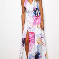 Floral Print Strappy  Maxi Dress With Slit