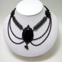 Gothic, choker, chainmaille, necklace, Maleficent, Gothic jewelry, Fae, costume, dark fairytales.