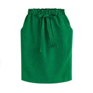 2017 New Spring Summer Midi Skirts Womens Cotton Linen Casual High Waist Package Hip Skirt Bow Loose Pencil Skirt Black Green