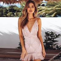 Sequin Cami Dress Women Mesh Strap Mini Summer Mermaid Dress