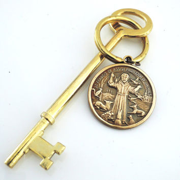 Key Ring - Saint Francis Key Ring - Vintage Brass