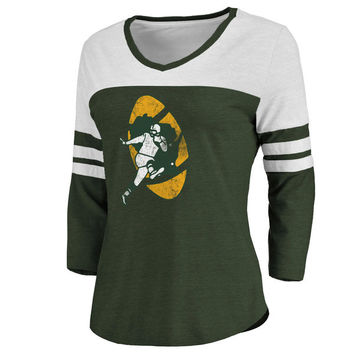 Women's Green Bay Packers Pro Line Green/White Throwback Two-Tone Color Block Tri-Blend 3/4-Sleeve T-Shirt