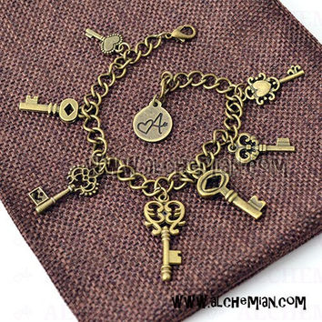 Skeleton Key charm bracelet with key pendants