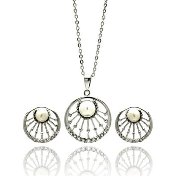 Rhodium Plated Brass Pearl Center Open Sun Disc Clear Cubic Zirconia Stud Earring & Hanging Necklace Set