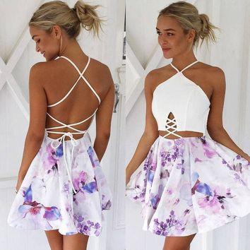 DCCKN6V Summer Spaghetti Strap Strapless White Mosaic Print One Piece Dress