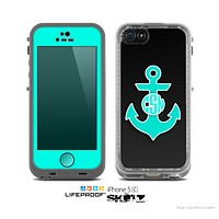 The Teal Green Monogram Anchor on Black Skin for the Apple iPhone 5c LifeProof Case