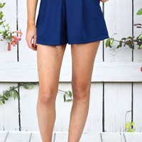 Pleated Shorts with Pockets {Navy}