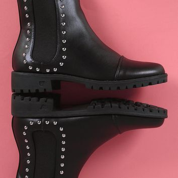 Studded Round Toe Chelsea Booties