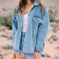 Retro style washed blue denim jackets moto denim coat for women and girl Gift