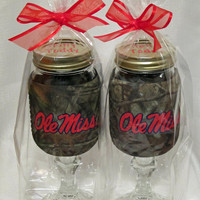 Ole Miss Redneck Camo Wine Sippin Glass
