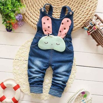 Spring Autumn Winter Children Clothing Kids Babi Baby Vintage rabbit Faux Denim Jeans Blended Overall Long Pants Trousers