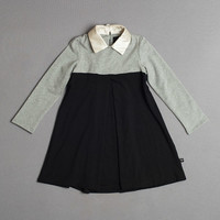 Heather Gray & Black Color Block Trapeze Dress - Girls