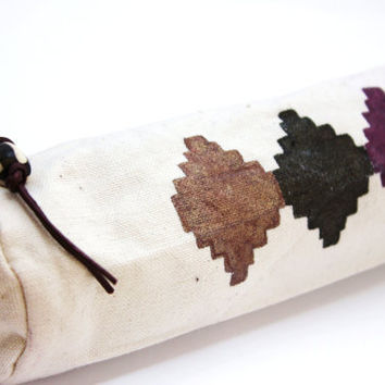 hand painted canvas pouch pencil case tribal bag navajo by BeaKez