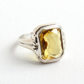 Vintage Art Deco 835 Silver Citrine Yellow Glass Ring- Size 5 1/2 1930s Sterling Silver Emerald Cut Jewelry