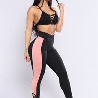 Lovin' You Active Leggings - Black/Pink