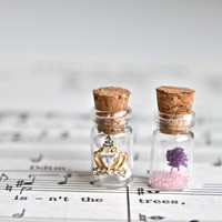Handmade personalize message in a bottle and real flower glass bottle pendant necklace, colorful cotton cord, glass terrarium pendant.