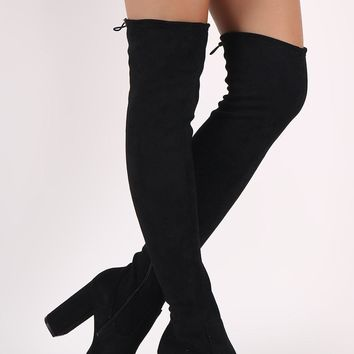 Suede Drawstring Heeled Over the Knee Boots
