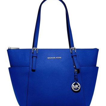 MICHAEL Michael Kors Jet Set Large Top-Zip Leather Tote in Electric Blue Tagre™