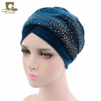 DKLW8 New Luxury Women Velvet Turban Headband Diamante Studded  Extra Long Velvet Turban Head Wraps Hijab Head Scarf Turbante