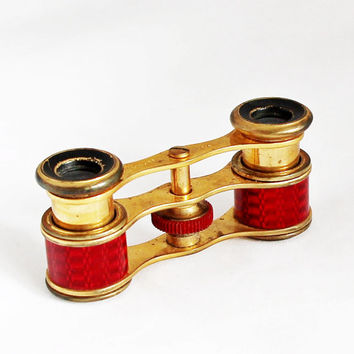 1920s French Zingraff Opera Glasses / Antique Binoculars Opera Theater Glasses Brass Binoculars